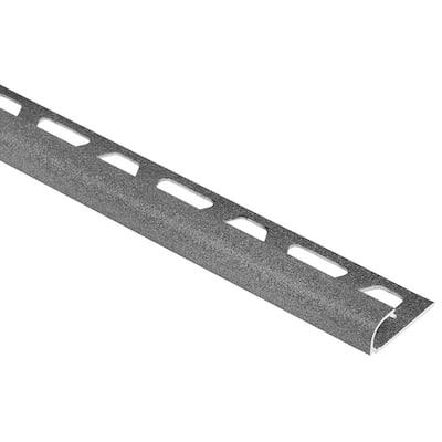 Rondec Pewter 1/4 in. x 8 ft. 2-1/2 in. Color-Coated Aluminum Bullnose Tile Edging Trim