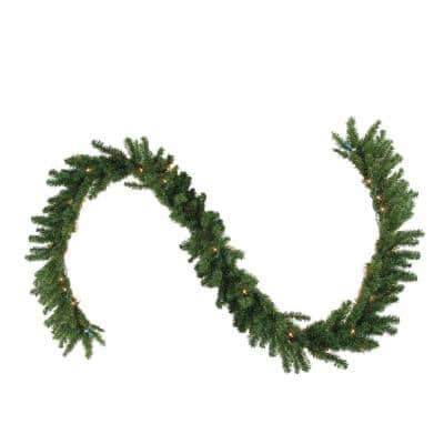 9 ft. x 14 in. Pre-Lit Canadian Pine Artificial Christmas Garland with Clear Lights