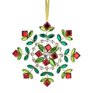 6.5 in. Green and Red Gem Stone Flowers Snowflake Christmas Ornament