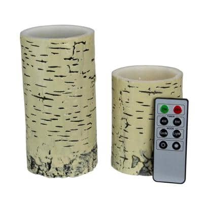6 in. Faux Birch LED Pillar Candles with Remote Control (Set of 2)