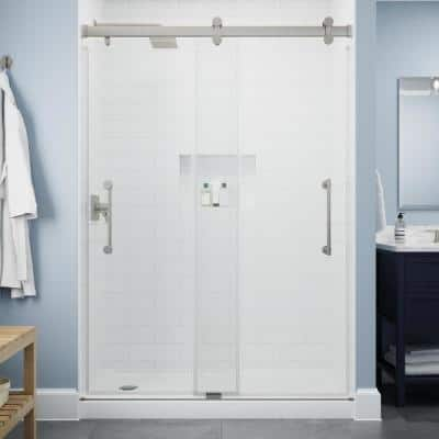 Paxos 60 in. W x 76 in. H Sliding Frameless Shower Door in Nickel with 5/16 in. (8 mm) Clear Glass