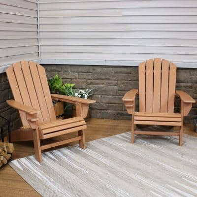 All-Weather Brown Plastic Adirondack Chair with Drink Holder (2-Pack)