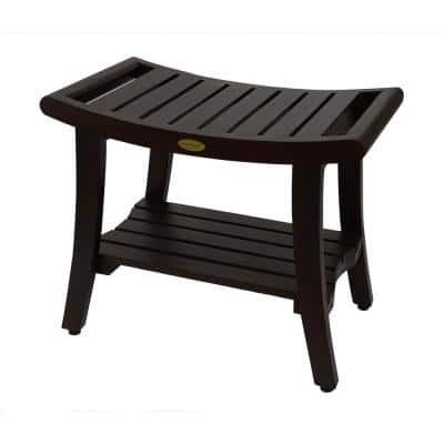 Harmony 24 in. L Teak Shower Bench with Shelf and LiftAide Arms