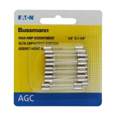 Bussmann Agc High Amp Fuse Assortment Includes 7 1 2 10 15 20 25 And 30 Amp Fuses Bp Agc Ah10 Rp The Home Depot