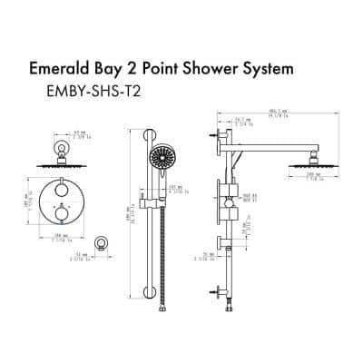 ZLINE Emerald Bay 2-Spray Patterns with 2 GPM 15.8 in. Wall Mount Dual Shower Heads with Thermostatic System in Black
