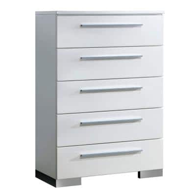 Clementine Modern Style 5-Drawer Glossy White Chest of Drawers