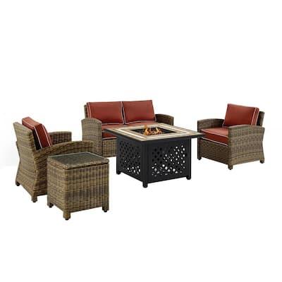 Bradenton 5-Piece Wicker Patio Fire Pit Conversation Set with Sangria Cushions Table