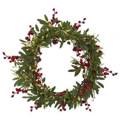 20in. Olive with Berries Artificial Wreath