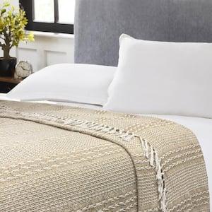 Desert Sand Tan/White Twin Cotton Blanket