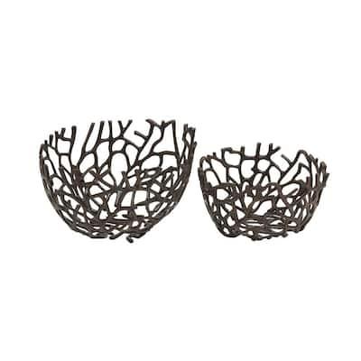 Black Deep Round Vine Aluminum Decorative Bowls (Set of 2)