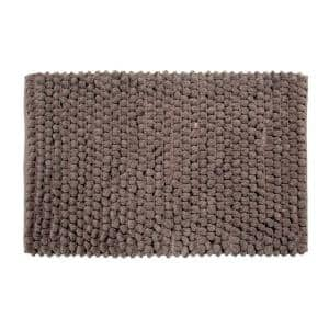 Bubbles Pattern 34 in. x 21 in. and 36 in. x 24 in. Cotton and Microfiber Gray Non-Skid Backing 2-Piece Bath Rug Set