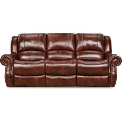 Aspen 91 in. Oxblood 100% Genuine Leather Double-Reclining 3-Seater Sofa in Oxblood, HUM003SF-OB