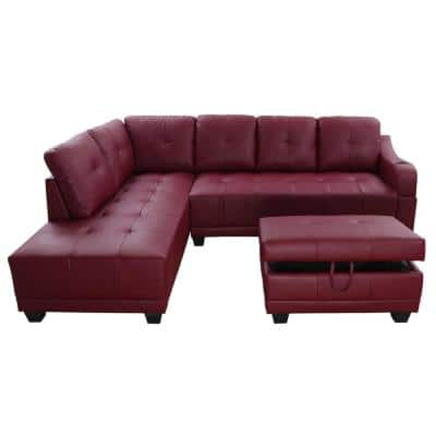 Bill 3-Piece Red Faux Leather 3-Seater L-Shaped Left-Facing Sectional Sofa with Ottoman