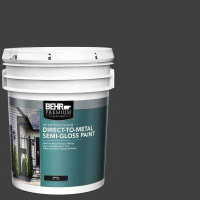 5 Gal. Black Semi-Gloss Direct-to-Metal Interior/Exterior Paint