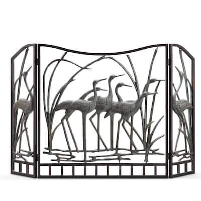 3-Panel Crane Flock Fireplace Screen