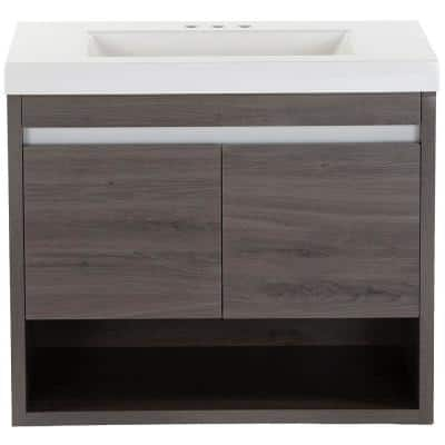 Wilby 30.5 in. W x 18.9 in. D Vanity in Dark Oak with Cultured Marble Vanity Top in White with White Sink