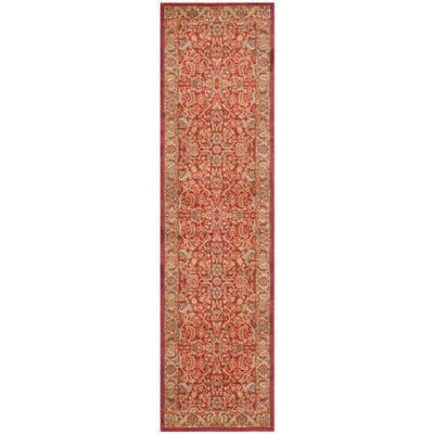 Mahal Red/Natural 2 ft. x 12 ft. Border Floral Antique Runner Rug