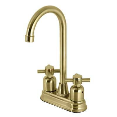 Concord Two Handle Bar Faucet in Brushed Brass