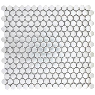 Gleam Silver Matte 11.81 in. x 11.81 in. x 10mm Metal Products Mesh-Mounted Mosaic Tile (1 sq. ft.)