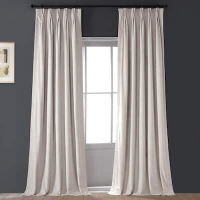Alabaster Beige Velvet Pinch Pleat Blackout Curtain - 25 in. W x 96 in. L