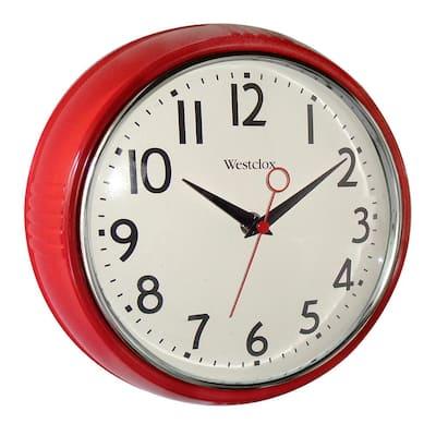 9.5 in. Red Retro Wall Clock