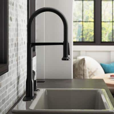 Setra Single-Handle Semi-Professional Kitchen Sink Faucet with Soap Dispenser in Matte Black