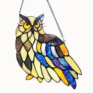 Multi-colored Owl Stained Glass Window Panel