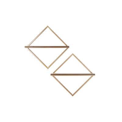 15 in. H x 15 in. W x 4 in. D Wood and Gold Metal Wall-Mount Diamond Floating Shelf (Set of 2)