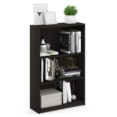 40.3 in. Espresso Wood 3-shelf Standard Bookcase with Adjustable Shelves