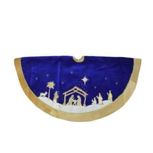 48 in. Blue and Gold Nativity Scene Christmas Tree Skirt with Gold Border