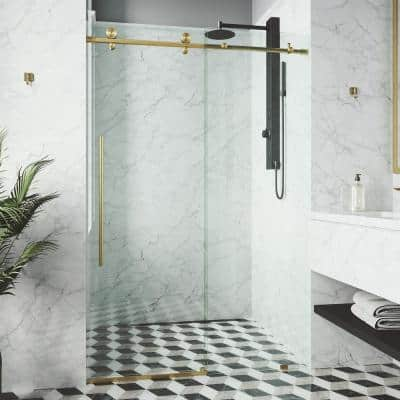 Elan E-Class 44 to 48 in. W x 76 in. H Sliding Frameless Shower Door in Matte Gold with Clear Glass
