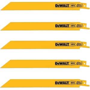 Deals on 5-Pk DEWALT 8 in. Straight Back Bi-Metal Reciprocating Saw Blade