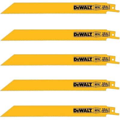 5-Pack Dewalt 8' 14 Teeth Straight Back Bi-Metal Reciprocating Saw Blade