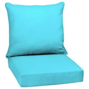 24 in. x 24 in. Pool Blue Leala Texture 2-Piece Deep Seating Outdoor Lounge Chair Cushion