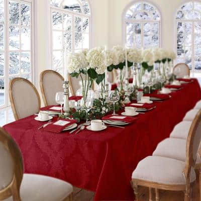 60 in. W x 84 in. L Oblong Red Barcelona Damask Fabric Tablecloth