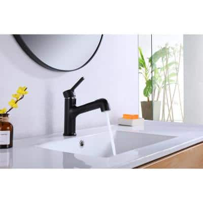 Single Handle Lever Handle Single Hole Bathroom Faucet with Pull-Down Sprayer in Matte Black