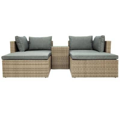 Boyel Living Brown 5-pc Wicker Rattan Sectional Outdoor Patio Furniture Sofa Set with Gray Cushion