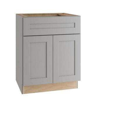Tremont Assembled 24 x 34.5 x 24 in. Plywood Shaker Base Kitchen Cabinet Soft Close Doors/Drawers in Painted Pearl Gray