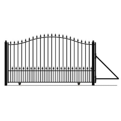 Munich Style 16 ft. x 6 ft. Black Steel Single Slide Driveway Fence Gate