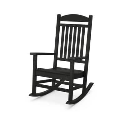 Grant Park Black Plastic Outdoor Rocking Chair