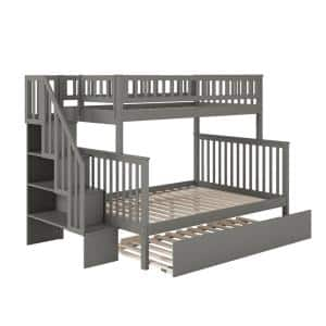 Woodland Staircase Bunk Bed Grey Twin over Full with Full Urban Trundle Bed