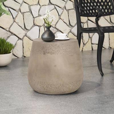 Orion Concrete Finish Drum Shape Lightweight Concrete Outdoor Side Table