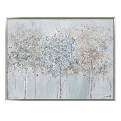 """""""Blue Forest in. Silver Wooden Floating Frame Hand Painted Acrylic Wall Art 47 in. x 35 in."""