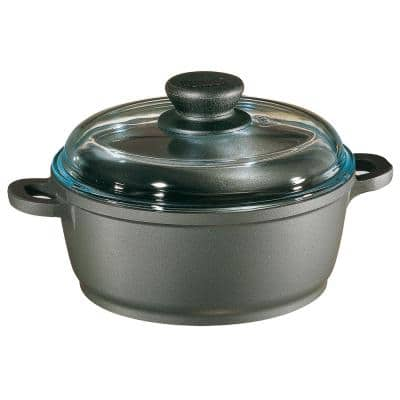 Tradition 1.25 qt. Round Cast Aluminum Nonstick Dutch Oven in Gray with Glass Lid