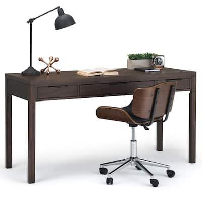 Hollander Solid Wood Contemporary 60 in. Wide Desk in Warm Walnut Brown