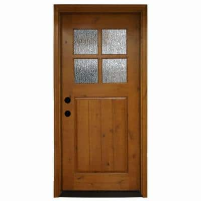 36 in. x 80 in. Cottage 4 Lite Rain Stained Knotty Alder Wood Prehung Front Door