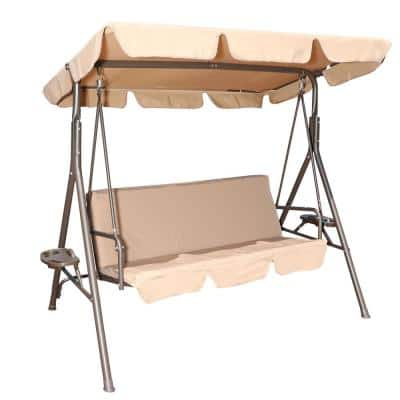 3-Person Metal Outdoor Patio Swing Chair with Canopy and Beige Cushion