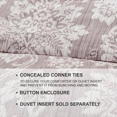 Scarlett 3-Piece Light Brown Damask Duvet Cover Set