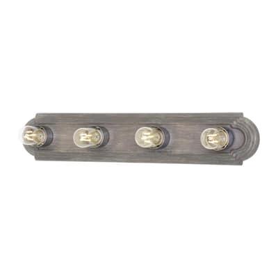 De-Lovely 24 in. 4-Light Washed Pine Vanity Light with Chrome Light Bulb Sleeves