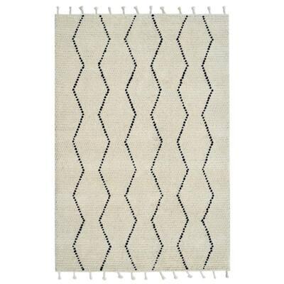 Celestial Ivory/Black 8 ft. x 10 ft. Wool Modern Indoor Area Rug